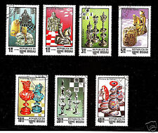 Guinea-Bissau History of Chess ,HISTORIA DO XADREZ 1983 y full used set  7 pcs