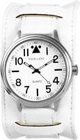 Excellanc Herrenuhr Weiß Silber Analog Metall Kunst-Leder Quarz X295022000062
