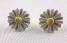 Daisy Earrings White Yellow Small Flower Studs Metal Posts