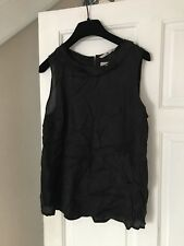 BNWT TU Black Frill Neckline Shiney Classic Sleeveless Top Sz 12