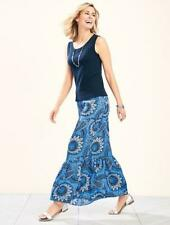 TALBOTS Blue Patchwork Paisley Maxi Ruffle Skirt X 12W NWT Womans (MSRP $119)