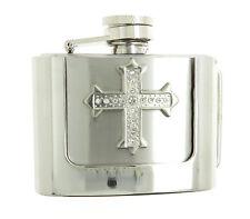 Rhinestone Cross 2 oz Stainless Steel Flask Belt Buckle