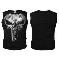 The Punisher Skull Vest Tank Top Daredevil T-shirt Lycra Tops Slim Fit
