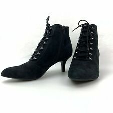 Anne Klein Womens Black Iflex Pointed Toe Lace Up Zipper Ankle Boots Size 7.5 M