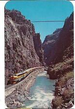 STREAMLINE TRAIN Royal Gorge Canon City Hanging Bridge COLORADO Postcard CO