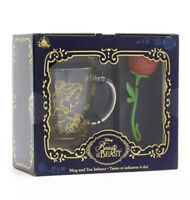 2021 Disney Store Beauty and the Beast Mug and Rose Tea Infuser In Hand New