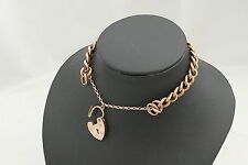 RARE VICTORIAN HM 9ct ROSE GOLD TEXTURED CURB BRACELET & HEART CLASP 11.7g