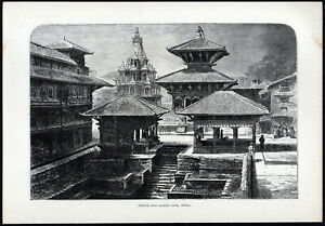 TEMPLE AND SACRED TANK, NEPAL 1891 Pashupatinath VICTORIAN ENGRAVING