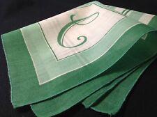 "#5582🌟Vintage 30s Geometric Print Monogram ""C"" Green Pocket Handkerchief"