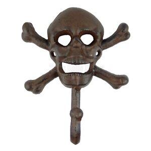 Skull Crossbones Wall Hook Cast Iron Rustic Biker Rocker Towel Coat Wall Hanger