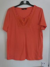 Ladies Orange t shirt with bead decoration by Bm casual size L