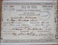1885 Cuban Identification Card/Certificate - Matanzas, Cuba