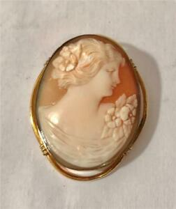 Lovely Vintage Hand Carved Shell Cameo In GF Mounting Providence Stock Co