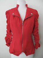INC International Concepts Moto Jacket M Red Stretch Cotton Knit Ruched 3/4 Slv