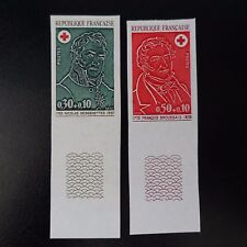 CROIX ROUGE RED CROSS N°1735/1736 TIMBRE NON DENTELÉ IMPERF 1972 NEUF** LUXE MNH