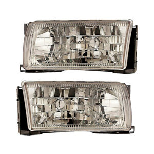 Front Headlights Pair Set for 96-98 Nissan Quest/Mercury Villager Left & Right