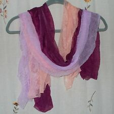 Set of 3- Oblong, Sheer Puckered Scarves in Lavender, Peach & Maroon