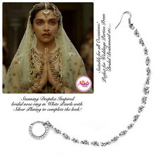 Indian Silver Bollywood Ethnic nath Nose Ring Wedding Bridal Traditional Jewelry