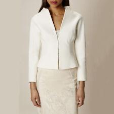 Karen Millen Textured Mixed Media Ivory Suiting Tailored Blazer Jacket US 8/UK12