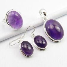 Pendant Earrings Ring Sz 9 Set Genuine Amethyst February Birthstone, 925 Silver