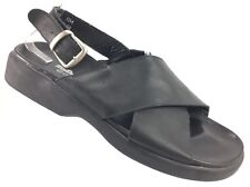 #SH6 Florsheim @Ease 11M Made in Italy Black Leather Comfort Sandals Buckle