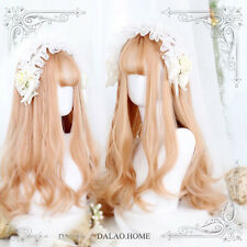 Tender Light gold Japanese Harajuku Lolita Princess Curly Hair Wig Elegant #