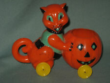 Vintage Halloween Hard Plastic Candy Container Rosbro Cat Pushing Jack-O-Lantern
