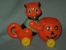 Vintage Halloween Hard Plastic Candy Container Rosbro Cat Pushing Jack-O-Lantern