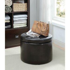 Convenience Concepts Designs4Comfort Round Shoe Ottoman, Black - 161546B