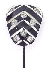 Vintage Black Enamel on Alluminum Stick Pin Rhinestones