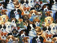 100% Cotton Fabric Dogs Garden Puppies David Textiles Fat Quarter/FQ/1/4 Yard