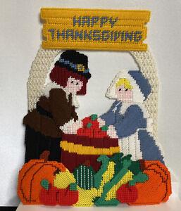 Happy Thanksgiving Holiday Plastic Canvas Needlepoint Decoration