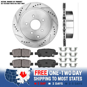 For Murano Quest FX35 FX45 Rear Drilled & Slotted Brake Rotors And Ceramic Pads