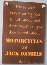 No Soliciting God Motorcycles and Jack Daniels Sign - Harley Davidson Biker Oran