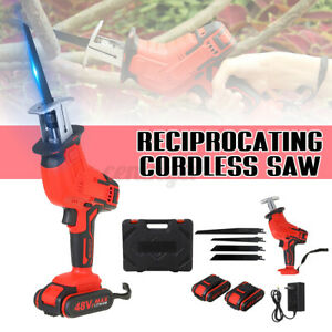 Rechargeable 48V Cordless Reciprocating Saw & 2 Battery + 4 Blades Cutting Kit