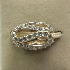 Chamilia Jewelry Glistening Meander Light Gray Swarovski Bead Silver Charm
