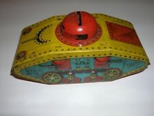 Old Tin Lithographed Toy X675 Military Tank Coin Bank Excellent