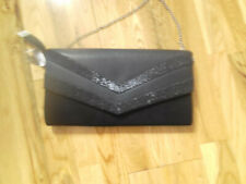 BNWT Dorothy Perkins Black clutch hand bag with silver Chain