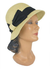 David and Young Ribbon Bow Cloche Natural Black D Y Woven Hat ABU7108 4f57fc38573c