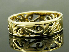 MR09- GENUINE 9ct 9K Solid Yellow Gold Filigree Scroll Wedding Band Ring size T