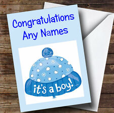Its A Boy Blue Hat Personalised New Baby Greetings Card