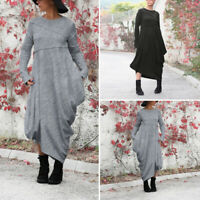 Hiver et Automne Femme Robe Dresse Loisir Manche Longue Asymmetric Ample Plus