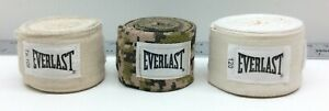 """3 - Everlast Standard Boxing Hand Wraps 108"""" Natural/Camouflage & 120"""" Natural"""
