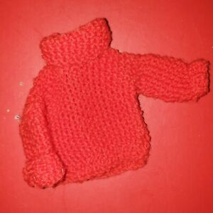 Vintage red Knitted Jumper For Sindy Doll