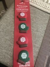 Collectible Hallmark Holiday Button Covers Mittens Christmas Red Green Set Of 4
