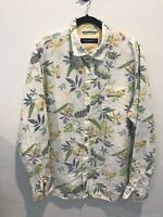 White Linen Floral XL Extra Large Tommy Bahama Hawaiian Shirt 80% Linen