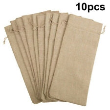Drawstring Hessian Natural Jute Burlap Wine Bottle Cover Gifts Bags Party Decor