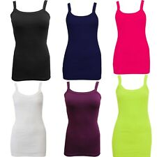 New Womens Ladies Girls Stretchy Ribbed Vest Top Strap Gym Cami Top Size 8-24