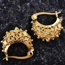 Cute 9K Yellow Gold Filled Girls Womens hedgehog Hoop Earrings D6143