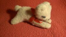 "Vintage 10"" Woolno Toy TAN SLEEPING BEAR FELT EYELASHES plush stuffed animal"